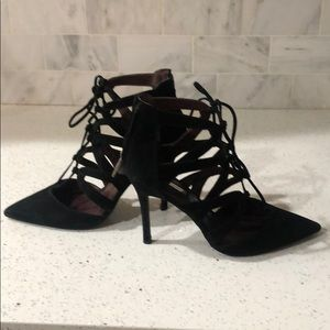 BCBG black suede Lace Up Stiletto Pumps